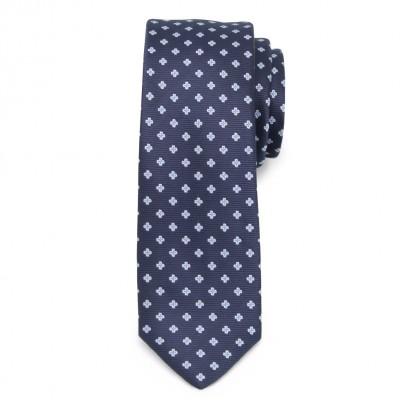 Wąski granatowy krawat w kwiatki