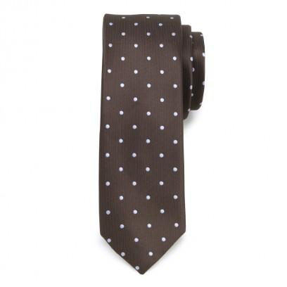 Wąski brązowy krawat w groszki