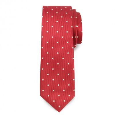 Wąski czerwony krawat w groszki
