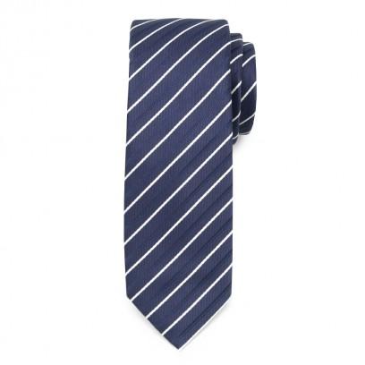 Wąski granatowy krawat w prążki