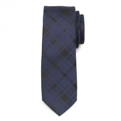Wąski granatowy krawat w kratkę