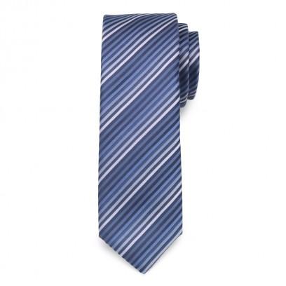 Wąski krawat w niebieskie paski
