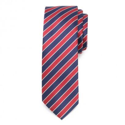 Wąski krawat w granatowo-czerwone pasy