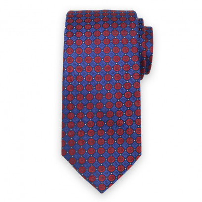 Granatowy jedwabny krawat w czerwone grochy