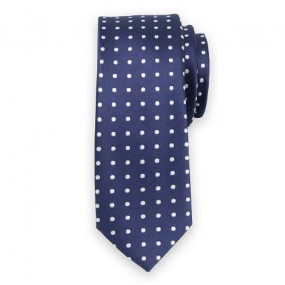 Granatowy wąski krawat w białe groszki