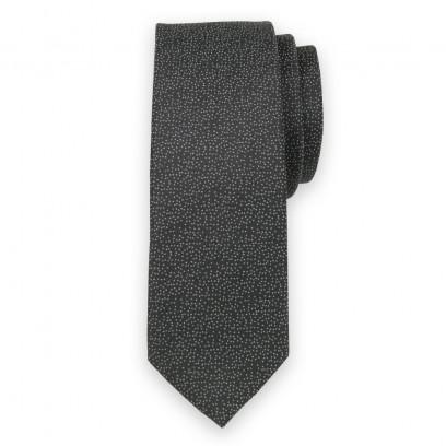 Wąski czarny krawat w kropki