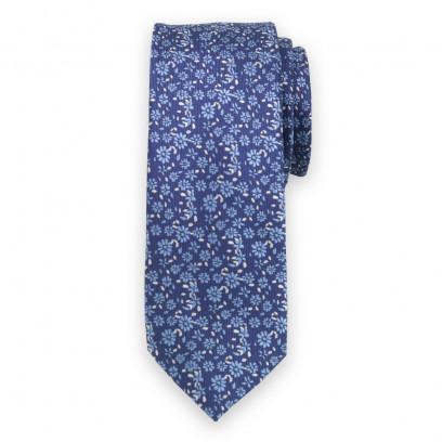Wąski granatowy krawat w niebieskie kwiaty