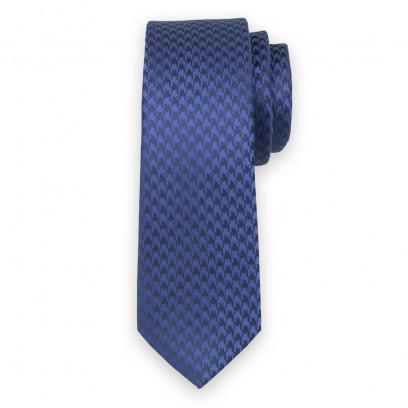 Wąski niebieski krawat w pepitę