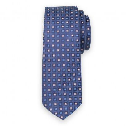 Wąski granatowy krawat w kwadraty