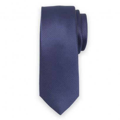 Wąski ciemnogranatowy krawat w prążek