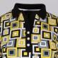 Koszulka polo w żółte, czarne i białe kwadraty
