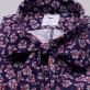 Granatowa bluzka w kwiaty z kokardą