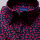 Czarna bluzka w bordowe liście